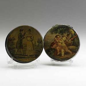 Two french snuff boxes one papiermache with naughty engraved interior the other silver plated on copper with painted scenes on top bottom and interior larger 3 12 x 1 12