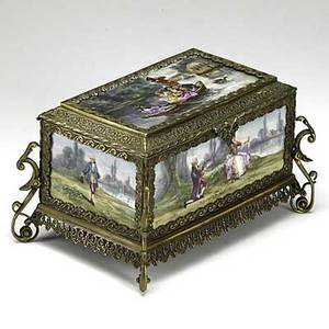 French porcelain and bronze casket decorated with five painted porcelain panels and velvet lining 19th c signed a vigier 9 12 x 6 14 x 5 14