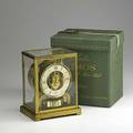 Le coultre atmos clock heritage perpetual motion clock 20th c in original silk manufacturers box 9 x 6 12 x 4 34