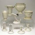 Roseville nine piece ivory group including moderne donatello russco and others some marked and labeled tallest 7 12