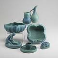 Van briggle six pieces in matte blue and green glaze include corn maiden lotusform vase floriform planter with frog etc most marked ca 1950 tallest 7
