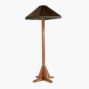 Mica lamp co contemporary floor lamp with oak shaft and mica shade 60 x 20 sq