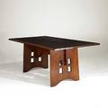Contemporary arts  crafts bill kennedy limbert inspired red oak dining table with cut out base 30 x 75 x 40