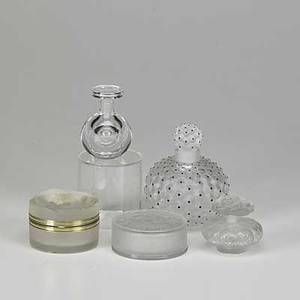 Lalique five pieces cactus perfume bottle two modern perfume bottles and two powder boxes one with original box all marked cactus 5 x 4 dia