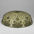 Leaded glass lamp shade applied water lily decoration over slag glass tiles many hairline cracks 6 12 x 17 12