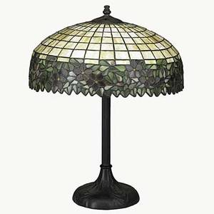 Style of handel table lampleaded glass shade with floral motif and bronze patinated base late 20th c 22 x 18 dia
