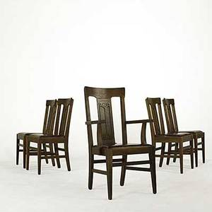Arts  crafts set five of oak dining chairs with red slip seats 1900 c armchair 40 x 23 12 x 22