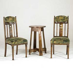 English arts  crafts two side chairs with cutout center slat design and chenille upholstery and a copper top drink stand with flaring plank legs chairs 42 x 18 x 19