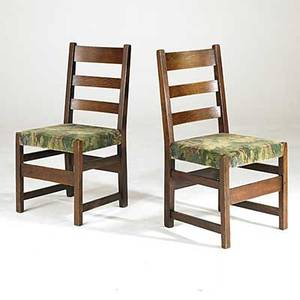 L  j g stickley pair of ladderback side chairs 360 with tackedon chenille upholstery each with partial handcraft decal some looseness to each 36 12 x 18 12 x 19