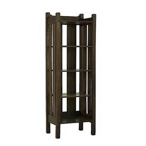 Stickley bros attr magazine stand with broad vertical slats and shaped crest rails unmarked 47 x 15 34 x 12