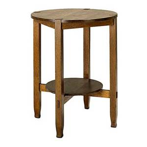 Stickley bros lamp table with inset top and shoe feet unmarked and overcoated 30 x 24 x 24 dia