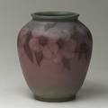 Sara sax rookwood vase decorated with roses spiderline crack under rim flame mark 6 12 x 5 12 dia