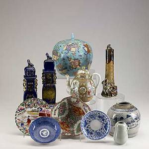 Asian pottery and porcelain eleven pieces include lotus form famille rose bowl blue and white shallow bowl blue and white ginger jar etc tallest 10 34