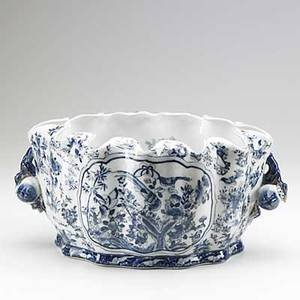 Asian porcelain blue and white twohandled bowl with woodland scene on exterior and aquatic scene on interior 19th20th c 8 x 17 12 x 12 dia