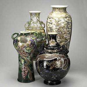 Satsuma four oversized vases in various styles and shapes japan early 20th c tallest 22