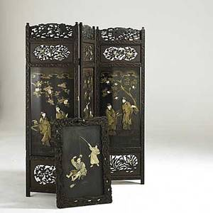Asian screen 3sections with hardstone inlay together with a smaller panel with ivory and hardstone inlay ca 1900 60 x 56 total