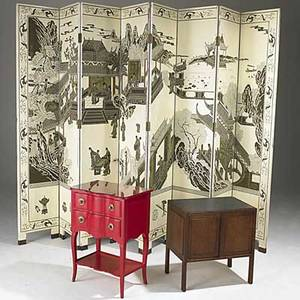 Furniture group eight panel folding screen red lacquer occasional table and teak side table screen panels 83 x 16 each