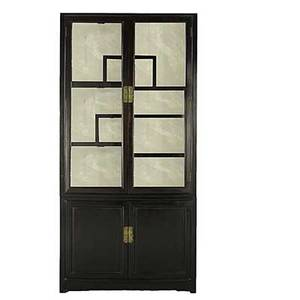 Asian furniture black lacquer china cabinet tiered shelves and mirrored back 20th c 78 x 38 x 15