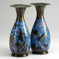 Cloisonne pair of vases in a woodland motif 19th20th c 12 14 x 5 14