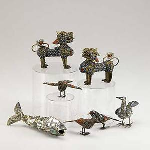 Cabinet figures seven pieces pair of brass foo dogs and three brass birds all with turquoise and coral inlay and articulated fish bottle opener with mother of pearl inlay 20th c tallest 4