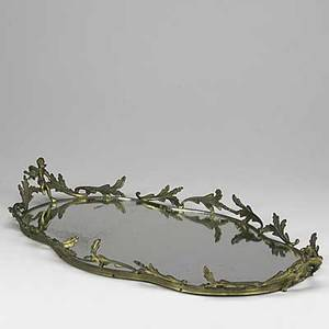 Decorative tray ormoulu mounted mirror tray with handles 20th c 24 x 14 dia