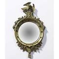 Bullseye mirror gesso frame with eagle finial 20th c 38 x 19 12 dia