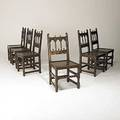 English jacobean chairs set of six in oak ca 1920