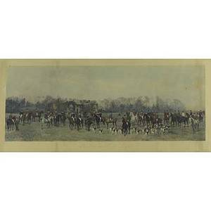 British equestrian engraving handcolor engraving lawn meet at aske framed early 20th c 20 x 38