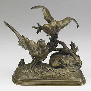 Ferdinand pautrot french 18321874 bronze statue of two exotic birds in a wooded landscape 19th c signed pautrot 7 x 7 x 3 12