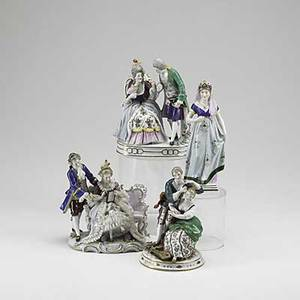 European porcelain four pieces capodimonte princess german victorian couple classic victorian court couple and outdoor serenade 20th c unmarked tallest 8 12
