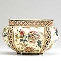 Zsolnay porcelain floral oval vase with open work rim 19th20th c impressed zsolnay mark 5 34 x 9 12 x 6 12