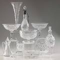 Crystal or blown glass twelve pieces include pair of cut glass compotes blown glass vase with etched decoration val st lambert small bowl etc tallest 14