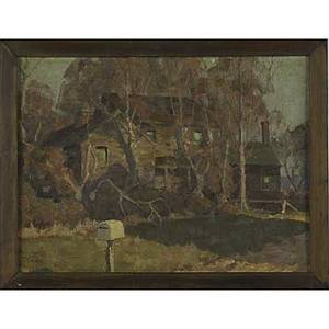 William p couse american 18981965 oil on board of a house in a landscape 1934 framed signed and dated 12 x 16