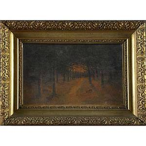 Early 20th c american landscape painting oil on canvas framed illegibly signed lower right corner 10 x 16