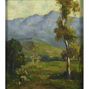 Early 20th c impressionist landscape oil on board of a mountain meadow framed unsigned 18 x 12