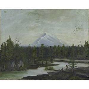19th c american landscape oil on canvas of a native american village in a landscape 24 x 30
