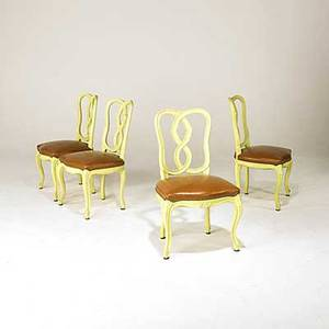 French provincial set of four yellow chairs with brown leather seats 35 12 x 20 x 20
