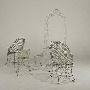 Garden furniture wire tagre together with wire armchairs and planter early 20th c etagre 75 x 43 x 28