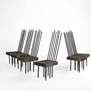 Garden set of six garden chairs with slab seats and copper tubing 48 x 16 x 20