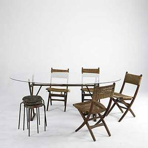Modern folding wooden outdoor table and five chairs with beechwood frames and sisal seats together with three nesting stools table 30 x 78 x 48