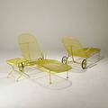 Russell woodard pair of enameled steel adjustable lounge chairs and occasion table lounge chair 36 x 25 x 63