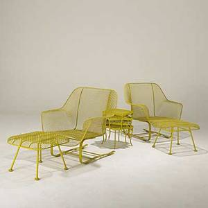 Russell woodard pair of enameled steel lounge chairs and ottomans together with a group of small tables chair 32 x 32 x 30 ottoman 14 12 x 20 x 20