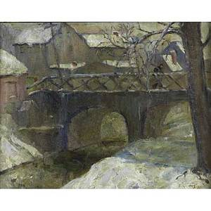 20th c landscape oil on canvas of a bridge framed illegibly signed and dated 1927 16 x 20
