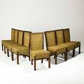 French modern set of eight teak and woven cane side chairs 1960s unmarked 38 x 18 12 x 20