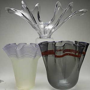 Glass group three pieces french center bowl ruffled italian glass vase and a similar contemporary piece tallest 15