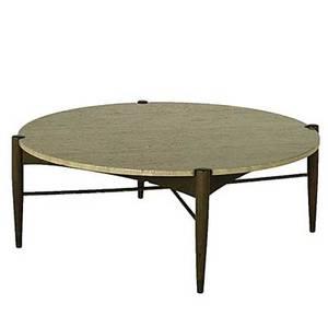 Danish modern oak brass and travertine coffee table unmarked 15 x 41 12