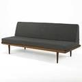 Peter hvidt teak armless sofa with gray wool cushions 31 x 74 x 30