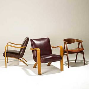 Thonet dux pair of laminated birch and leatherette lounge chairs together with dux teak side chair fabric label dux chair lounge chairs 31 12 x 26 12 x 24