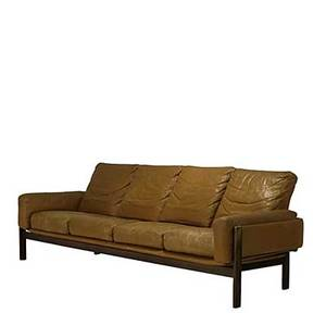 Danish modern leather and rosewood long low sofa made in norway label 31 x 93 x 32