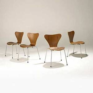Arne jacobsen fritz hansen set of four teak and chromed steel sevner chairs foil labels 30 x 19 12 x 20